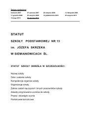 statut szkoły - Szkoła Podstawowa nr 13 w Siemianowicach Śląskich