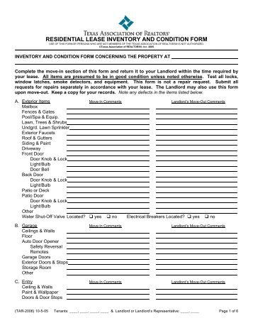 Rental Property Inventory and Condition Form