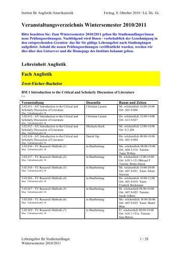 Veranstaltungsverzeichnis Wintersemester 2010/2011 - Institut für ...