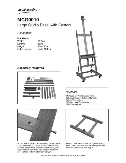 MCG0010 - Easel Assembly Instructions pdf - Art to Art
