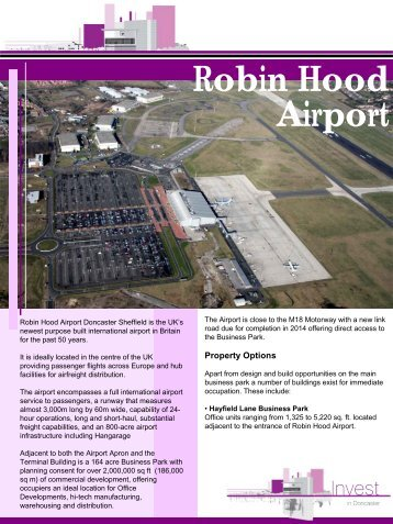 Robin Hood Airport - Invest In Doncaster