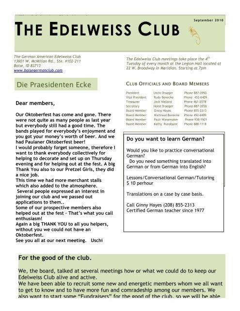 THE EDELWEISS CLUB - German-American Club of Boise, Idaho