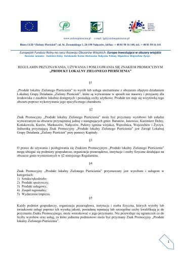 1 Europejski Fundusz Rolny na rzecz Rozwoju Obszarów Wiejskich ...