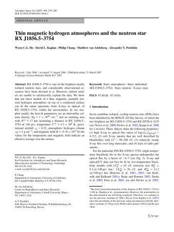 Thin magnetic hydrogen atmospheres and the neutron star RX ...
