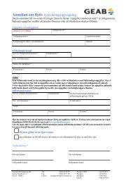 Anmälan om flytt- nyteckning/uppsägning - GEAB