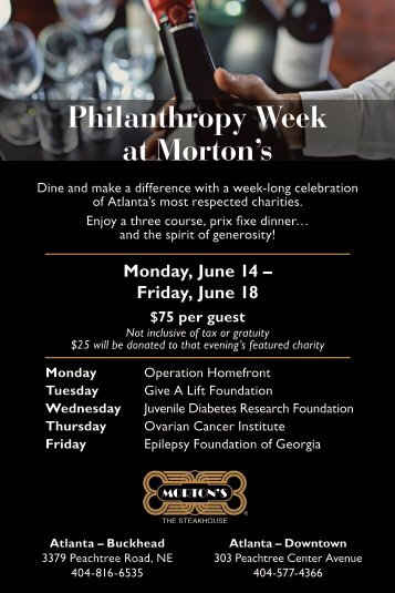 Philanthropy Week at Morton's