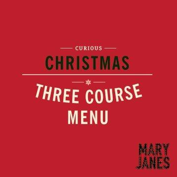 three course christmas menu curious - Fluid London