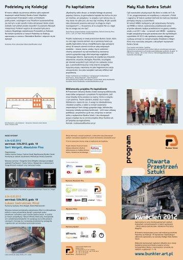 program kwiecień 2012 - Bunkier Sztuki - Art.PL