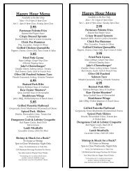 happy hour bar menu