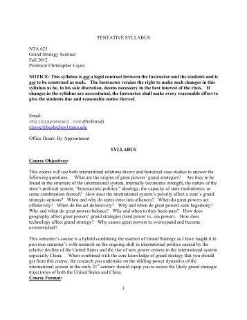 Layne - Fall 2012 - Bush School of Government and Public Service