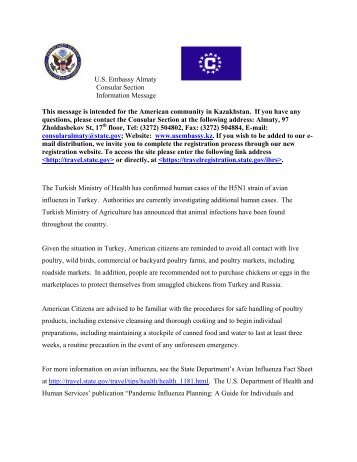 U s embassy kazakhstan this message is distributed to for Consul register service