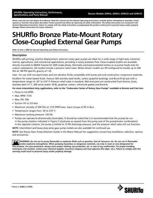 "Rotary Gear Pumps Carbonator Mount 1//2 hp motor required 3//8/"" port Bronze"