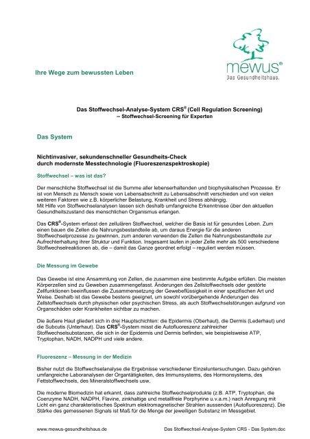 Das Stoffwechsel-Analyse-System CRS - Das System