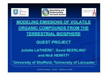 modeling emissions of volatile organic compounds from the ... - JULES