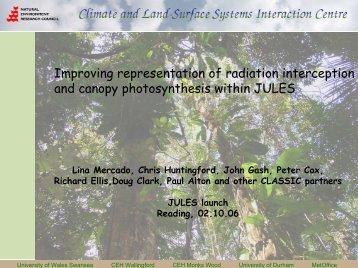 Radiation penetration through plant canopies - JULES