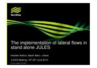 The implementation of lateral flows in stand alone JULES
