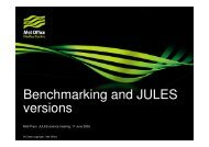 Benchmarking and JULES versions