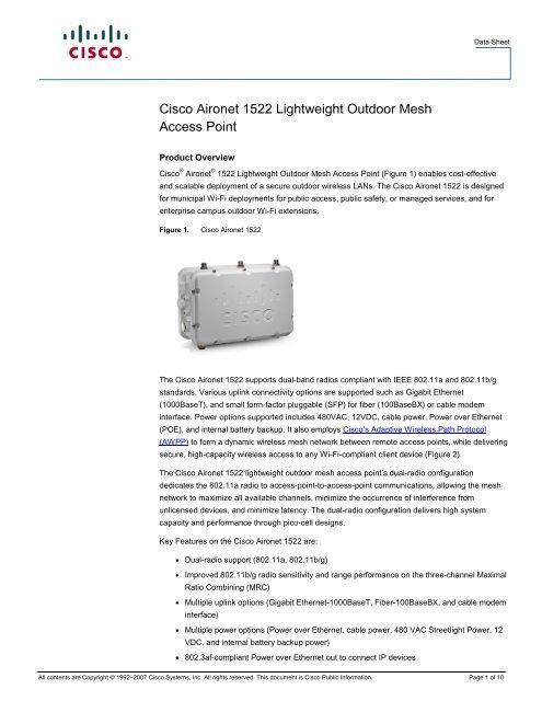 Cisco Aironet 1522 Lightweight Outdoor Mesh Access Point