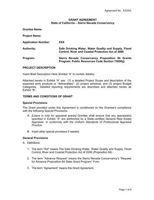 General And Appraisal Agreement Template Sierra Nevada