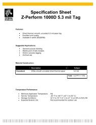 Specification Sheet Z-Perform 1000D 5.3 mil Tag - Mobile ID Solutions