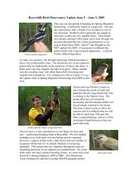 Beaverhill Bird Observatory Update June 5-9, 2009