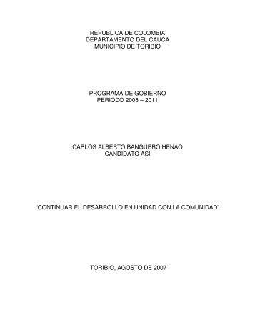 republica de colombia departamento del cauca ... - Alcaldía Toribío