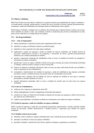 NR-33 SEGURANÇA E SAÚDE NOS TRABALHOS EM ESPAÇOS ...