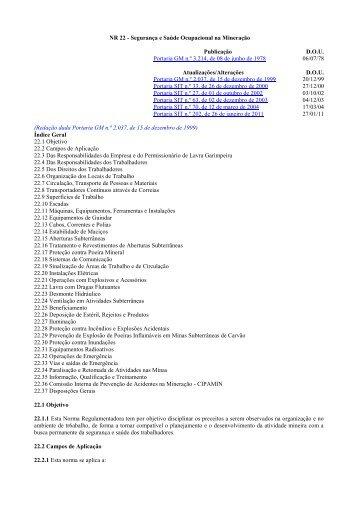 NR 22 - Ministério do Trabalho e Emprego
