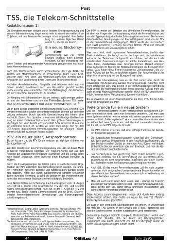 TSS, die Telekom-Schnittstelle - PCNews