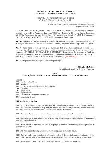 Portaria n.º 320, de 23/05/2012 - Ministério do Trabalho e Emprego