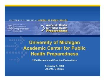University of Michigan Academic Center for Public Health ...
