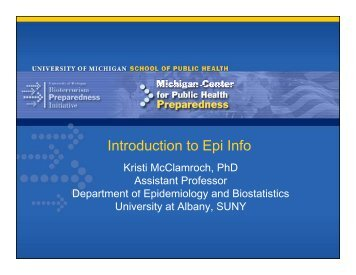 Introduction to Epi Info - Office of Public Health Practice