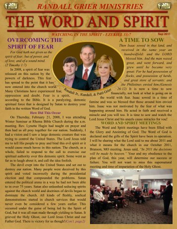 September 2011 Newsletter - Randall Grier Ministries
