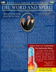 December 2009 Newsletter - Randall Grier Ministries