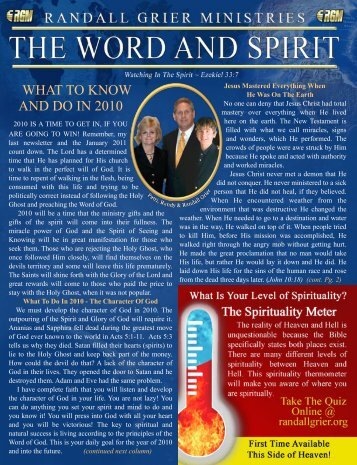 December 2009 Newsletter - Randall Grier Ministries
