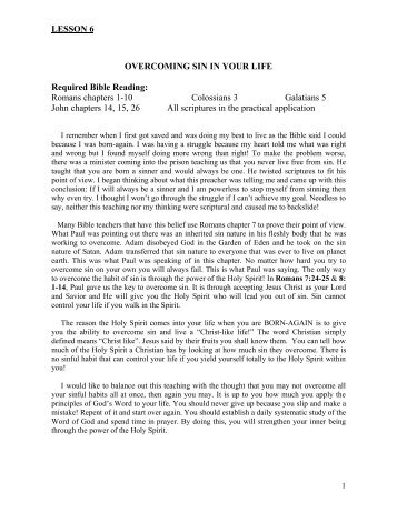 LESSON 6 OVERCOMING SIN IN YOUR LIFE