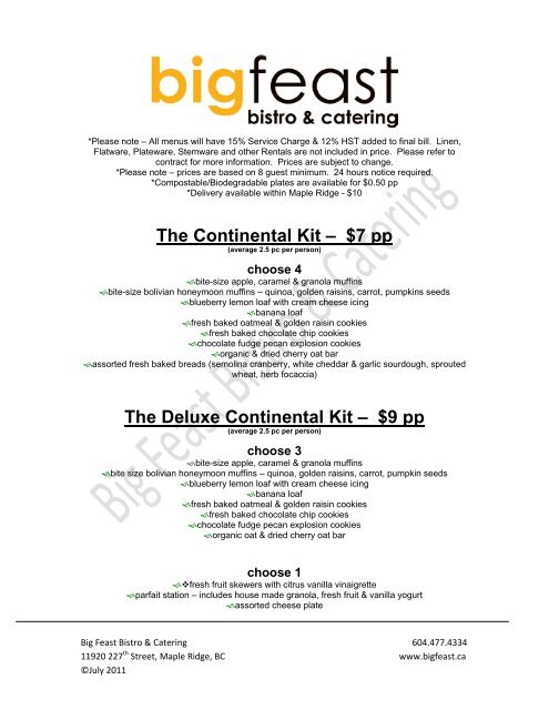 The Continental Kit – $7 pp - Big Feast Bistro & Catering
