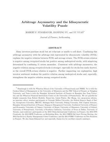 Arbitrage Asymmetry and the Idiosyncratic Volatility Puzzle