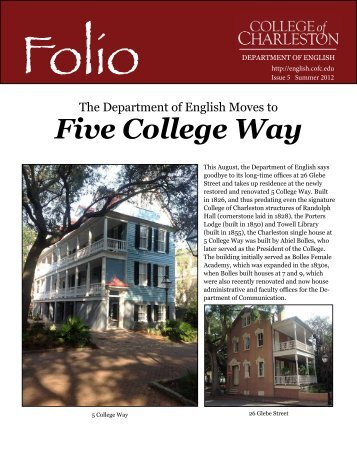 Folio - Department of English - College of Charleston