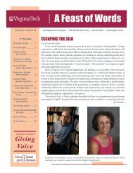 A Feast of Words - Spring 2011 - Department of English - Virginia Tech