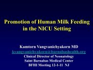 The Role of Human Milk Feeding in the NICU Setting - New Jersey ...
