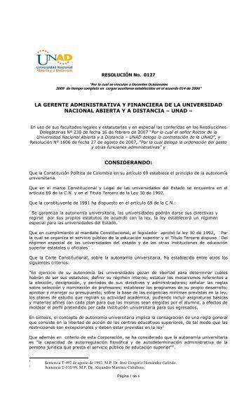 Resolucion No. 0127 - Talento Humano - Unad