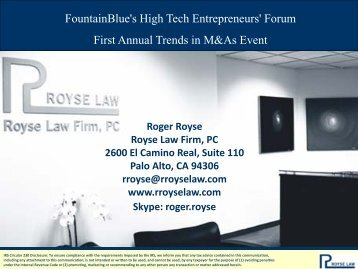M&A Trends? - Royse Law Firm