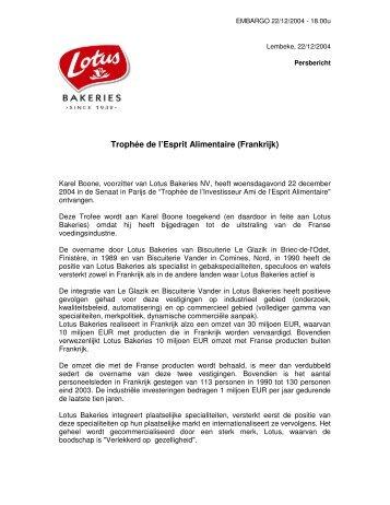 Trophée de l'Esprit Alimentaire (Frankrijk) - Lotus Bakeries