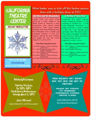 Holiday newsletter - California Theatre Center