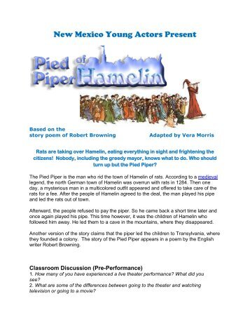 The Pied Piper Study Guide - New Mexico Young Actors