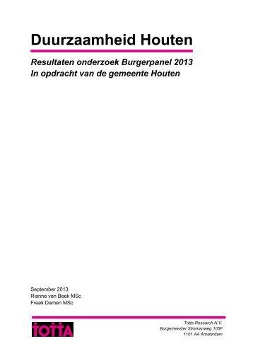 Duurzaamheid Houten Resultaten onderzoek Burgerpanel 2013 In ...