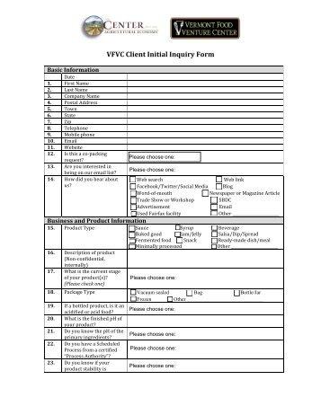 VFVC Client Initial Inquiry Form