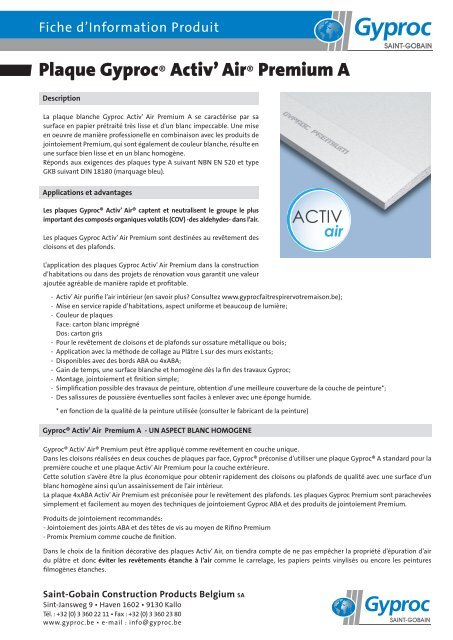 Plaque Gyproc® ACTIV air Premium A