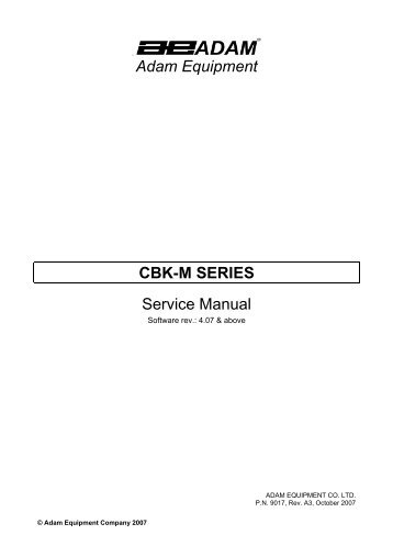 Adam Equipment CBK-M SERIES Service Manual